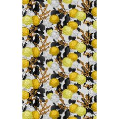 Designed by Liina Harju, yellow Krysanteemi (Chrysanthemum) fabric catches the eye with big chrysanthemum flowers that glow in autumn colours and are surrounded by dark leaves and berry-laden branches. The colours of the pattern give this traditional flow Chrysanthemum Flower, Marimekko, Floral Tie, Berries, Kids Rugs, Colours, Curtains, Fabric, Flowers