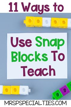 Hands on activities are a must for visual learners. Using manipulatives like snap blocks are perfect for introducing concepts and skills, student practice and are helpful for generalizing skills. Click to read about 11 different ways to use hands on manipulatives to teach. These ideas will easily fit into your lesson plans, direct instruction, centers, stations groups, guided reading, math tasks and independent work tasks. These ideas and tips are for you! Classroom Routines, Classroom Resources, Teaching Resources, Classroom Ideas, Teaching Reading, Guided Reading, Teaching Math, Self Contained Classroom, Direct Instruction