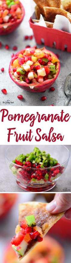 Pomegranate Fruit Salsa is so fun when served from pomegranate bowl at holiday parties! The refreshing combination of fruit, including pomegranates and cranberries, is perfect with crispy, baked cinnamon chips.