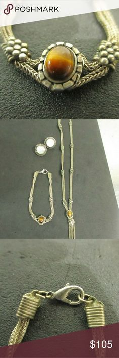 Sterling silver tiger's eye Gorgeous vintage solid Sterling bracelet and necklace only.925 silver. Jewelry Necklaces