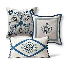 Set of Three Medallion Designer Pillows Blue Pillows, Throw Pillows, Safe Glass, Beaded Trim, Mold And Mildew, Designer Pillow, Mild Soap, Decorating Your Home, Glass Beads