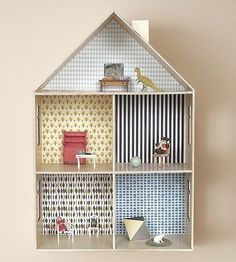 Although the main pieces are in place, I never really put the finishing touches on my daughter's dollhouse. One of the big things I've been waiting for is the perfect paper with which to cover the tiny walls of my miniature abode; here are five ideas to take inspiration from.