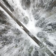 Enchanting Drone Aerials Look Like Scenes Inside Snow Globes | Snow-covered trees line a road. | Credit: Karolis Janulis | From Wired.com