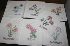 Flowers Days of the Week Dish Towels handmade in Missouri, USA $59.95
