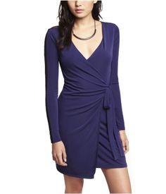 LACE INSET WRAP DRESS | Express