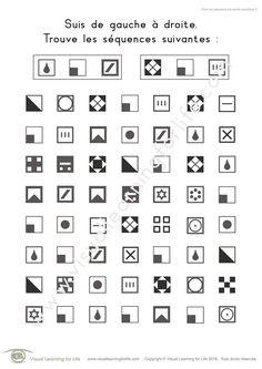 Dans les fiches de travail « Suivi de séquence de carrés complexe » l'élève doit trouver les mêmes séquences de carrés que les exemples en haut de la page.
