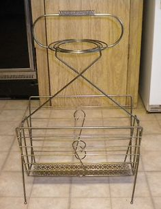 Vintage Mid-Century Modern Wire Art Deco Floor Ashtray / Magazine Rack, Neat! on eBay!