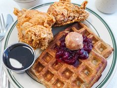 The fried chicken and waffles from Pies 'n' Thighs.