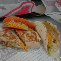 Quesarito (Steak, Rice, Cheese, with Sauce in a soft Tortilla), Dorito Taco and Soft Taco @ Taco Bell   This was really flavorful and filling. I got the box meal deal and dined in. The beverage selection was wonderful.  #Instagram    Via Foodspotting