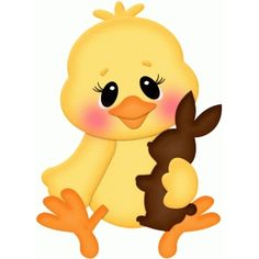 Silhouette Design Store: easter chick holding chocolate bunny