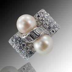 Cultured Pearl & Diamond Retro Cocktail Ring