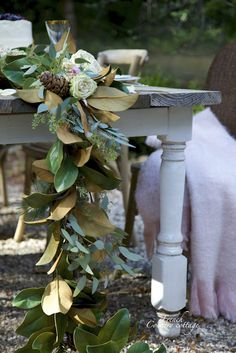 FRENCH COUNTRY COTTAGE: Magnolia garland centerpiece (with a secret) wedding decor Christmas home DIY flowers