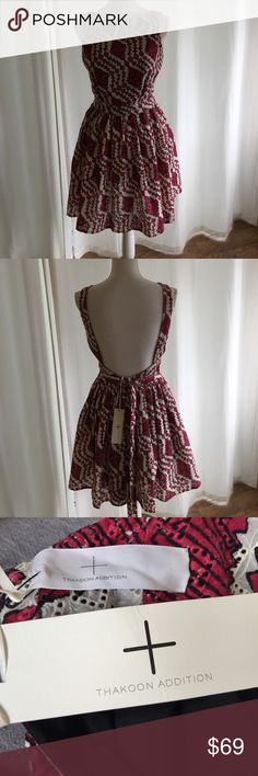 """THAKOON ADDITION pink white eyelet dress NEW sz 6 This is a NEW eyelet dress . Tie back belt , pretty full skirt bottom . Lined . 17.5 """" pit to pit - 27"""" waist - 34"""" long 100% cotton Thakoon Dresses Backless"""