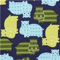 dark blue hippo animal fabric green-blue Robert Kaufman - Animal Fabric - Fabric