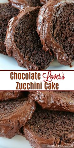 Chocolate Lover's Zucchini Cake is pure chocolate heaven. So chocolaty and a decadent chocolate cake recipe the whole family will enjoy. #cake #chocolatecake #chocolate #chocolaterecipes #greatgrubdelicioustreats