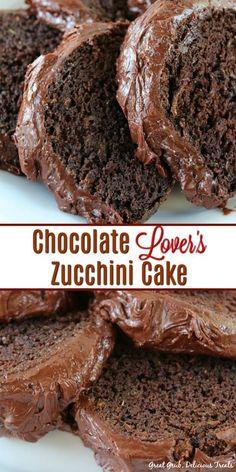 Chocolate Lover's Zucchini Cake is pure chocolate heaven. So chocolaty and a dec… Chocolate Lover's Zucchini Cake is pure chocolate heaven. So chocolaty and a decadent chocolate cake recipe the whole family will enjoy. Chocolate Zucchini Bread, Zucchini Bread Recipes, Zuchinni Cake Recipes, Zucchini Desserts, Healthy Zucchini Cakes, Chocolate Courgette Cake, Banana Bread, Decadent Chocolate Cake, Chocolate Heaven