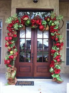 Give your front porch a festive makeover this holiday season with one of these hundred Christmas porch decorating ideas. These stunning porch Christmas displays are sure to impress your guests and improve your curb appeal Outside Christmas Decorations, Christmas Wreaths For Front Door, Christmas Porch, Christmas Holidays, Christmas Displays, Outdoor Decorations, Outdoor Christmas Garland, Christmas Ideas, Green Christmas