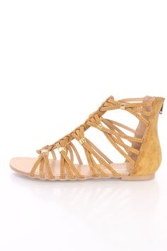 Tan Cross Strappy Open Toe Sandals Faux Leather
