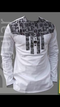 Mens White and Black Ankara Royalty Top