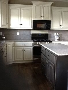 microwave above stove with raised cabinet above | Kitchen ...