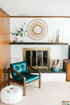 teal leather chair a
