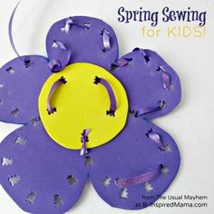 Get your kids sewing with this fun (and safe) flower shaped Spring sewing activity. Easy enough for preschoolers and great fine motor practice, too! From The Usual Mayhem at B-InspiredMama.com
