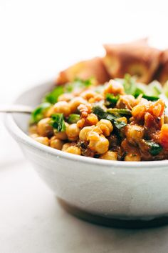 A weeknight take on the chana masala. Made simple and easy with canned chickpeas. This chana masala rice bowl is vegan and vegetarian friendly!