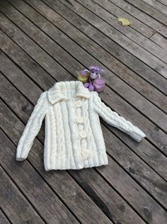 Hand Knitted Girl's Buttoned Cardigan Jacket Cardigan