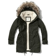 Abercrombie & Fitch Military Sherpa Lined Parka (130 AUD) ❤ liked on Polyvore featuring outerwear, coats, dark olive, sherpa lined coat, army green parka, military fashion, olive parka y lined parka