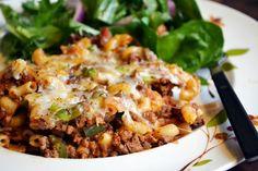 American Chop Suey Casserole ~ A New England classic comfort food; macaroni, ground beef, special tomato sauce, etc. -Yankee Magazine  #scenesofnewengland #soNE #food #soNEfood
