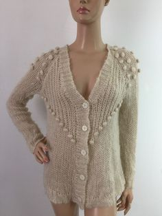 81c889e3ac Urban outfitters Ecote Sweater Button Down Cardigan Wool Mohair Cream Medium
