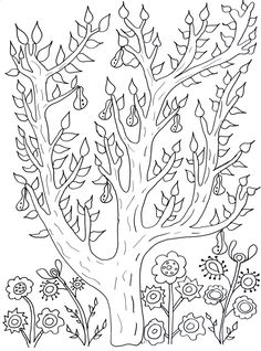 Free coloring page coloring-cute-tree-with-leaves-and-pears-olivier. Cute tree with leaves and pears, by Olivier