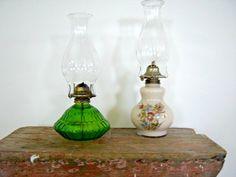 Vintage Cream Floral Oil Lamp Home Decor New Orleans Vintage Shop Retro Vintage (39.95 USD) by RockySpringsVintage