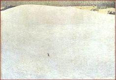Cuno Amiet  Le grand hiver Tableau de grandes dimensions, plus de quatre mètres carrés, Paysage de neige du peintre suisse Cuno Amiet étonne par la démesure de la surface accordée aux blancs, nuancés et délicats, qui mettent en valeur la tache sombre d'un skieur. La taille de celui-ci paraît, par opposition, dérisoire.  Cuno Amiet suisse, membre de l'Ecole de Pont-Aven, élève de Hodler, ami de Giovanni Giacometti et de Giovanni Segantini .