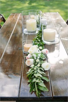 rose garland table decor, hurricane jar candle centerpieces, backyard wedding ideas #weddingchicks