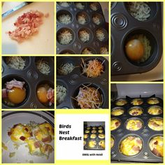 Birds Nest Breakfast Recipe - hash browns, cheese, eggs, and Canadian bacon