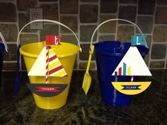 For my Baby Beach Bash 2014 ... I gave these as favors to the 9 new babies in our family circle! Dollar Tree buckets/shovels and hand made the ships & Popsicles