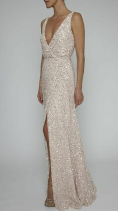 "New RACHEL GILBERT ""Pia"" ivory sequin sheath gown. Size 8-10. OUR PRICE: $999. Original price was $1,100. Available from A Bride to Be, Hornsby, NSW. www.abridetobe.co.au."