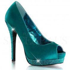 Turquoise satin and rhinestone peep toe Bordello Heels