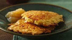 Potato pancakes, or latkes, are eaten traditionally during Hanukkah, but they are great to serve any time. Serve them with sour cream or Applesauce. Another great recipe to serve them with is our Braised Brisket of Beef.