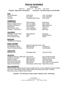 Actor Resume Format Prfoessional Acting Resume  Resume Templates  Pinterest