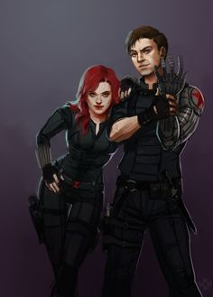 Black Widow and Winter Soldier. Probably picking targets, judging by the expressions… poor, poor targets…