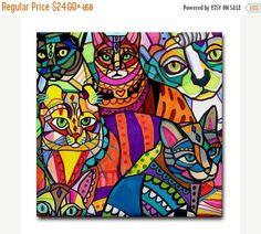50 % de réduction Storewide-CATS Art Céramique carreaux Art coloré par Heather Galler