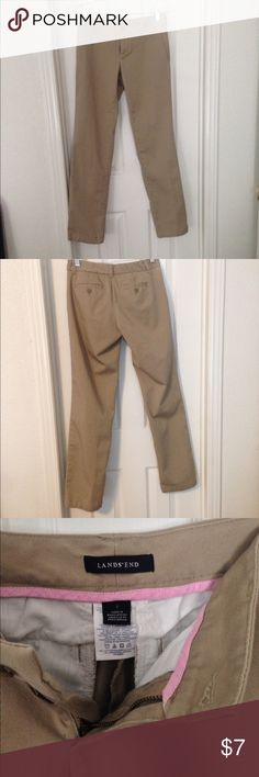 Lands' End Dress Khakis Khaki pants in excellent condition. Have front and back pockets, with a button fly closure. Only worn one or two times still look brand new, no flaws. Too small on me now.                   Bundle and Save 25% Lands' End Pants Straight Leg