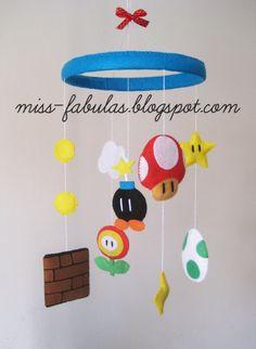 SUPER MARIO decorative baby cot cradle crib mobile by MissFabulas