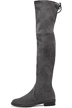 71e0add4c388 Mavirs Knee High Boots Womens Round Toe Thigh High Over The Knee Boots  Stretch Suede Flat