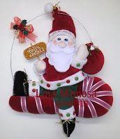 Moldes Para Artesanato em Tecido: Guirlanda Papai Noel com moldes