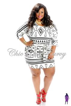 Shirt Dress with Black and White Aztec Print  Low Stock Alert! Available at http://chicandcurvy.com/dresses/product/10498-new-plus-size-shirt-dress-with-black-white-aztec-print-1x-2x-3x