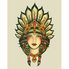 Traditional Indian Chief Female Tattoo Design