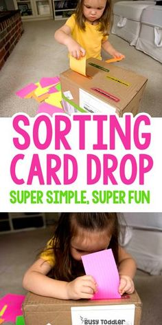 Sorting Drop Box Fine Motor Activity - Busy Toddler # fine motor activities for kids Sorting Drop Box Fine Motor Activity - Busy Toddler Toddler Fine Motor Activities, Fun Indoor Activities, Motor Skills Activities, Preschool Learning, Infant Activities, Toddler Preschool, Fine Motor Activity, Teaching Kindergarten, Fine Motor Skills